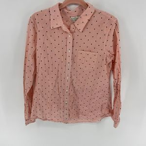 Madewell Broadway & Broome Red Striped Dot Shirt